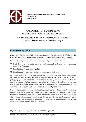 Plan de suivi informatique EICVN - Agence pour l'Evaluation de la ...
