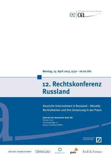 12. Rechtskonferenz Russland - German Centre Moscow