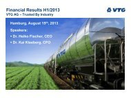 Financial Results H1/2013 VTG AG – Trusted By Industry
