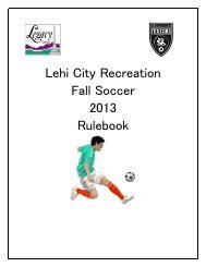 Lehi City Recreation Fall Soccer 2013 Rulebook