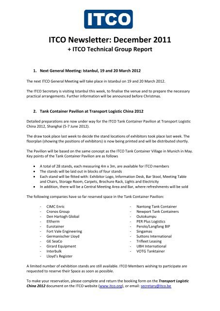 ITCO Newsletter: December 2011 - Itco be