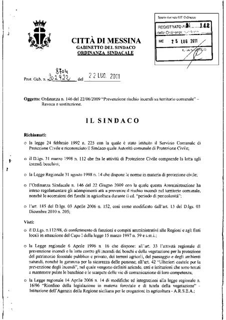 Ordinanza n. 142 del 25.07.2011 - Comune di Messina