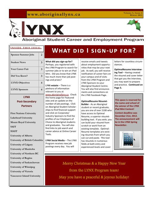 Winter 2013 Newsletter - Aboriginal Lynx