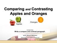 Comparing and Contrasting Apples and Oranges