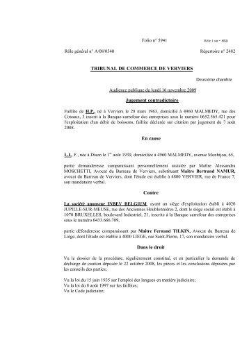 TRIBUNAL DE COMMERCE DE VERVIERS Jugement ... - Juridat