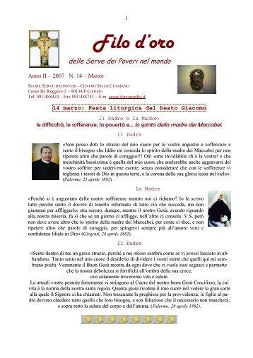 Marzo - Suore Serve dei Poveri del Beato Giacomo Cusmano