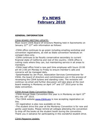 9's NEWS February 2010 - CSHA