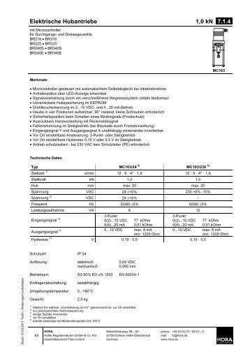 Elektrische Hubantriebe 1,0 kN 7.1.4. - HORA