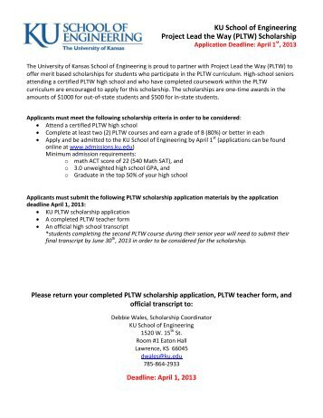PLTW scholarship application - School of Engineering - The ...
