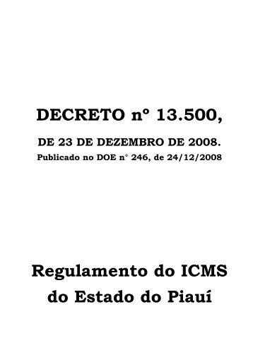 DECRETO nº 13.500 - Bem vindo ao Portal da SEFAZ-PI