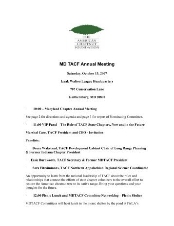 MD TACF Annual Meeting - The American Chestnut Foundation