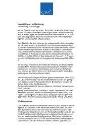 Investitionen in Werbung - Henning von Vieregge