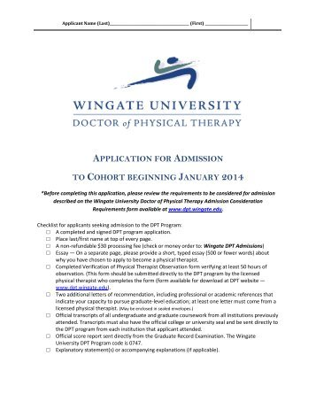 applicant wingate university doctor of physical therapy