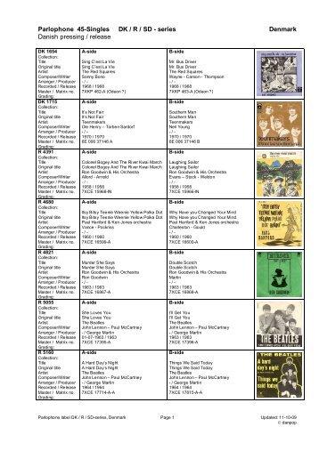 Parlophone series denmark collectors list - danpop.dk