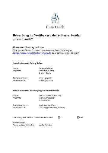 cum laude bewerbung der hu berlin kulturwissenschaft - Pdf Bewerbung
