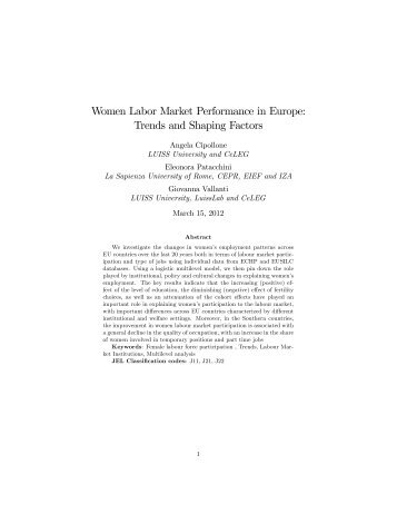 Women Labor Market Performance in Europe: Trends and ... - Neujobs