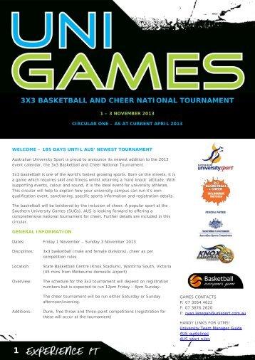 3x3 basketball and cheer national tournament - Australian University ...