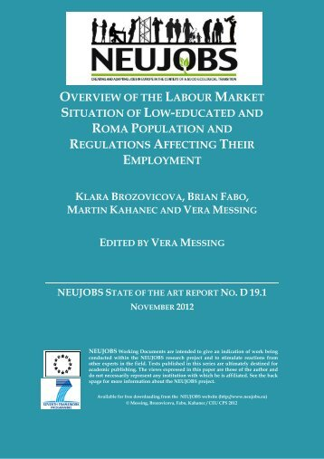 overview of the labour market situation of low-educated ... - Neujobs