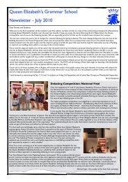 July 2010 Newsletter - Queen Elizabeth's Grammar School