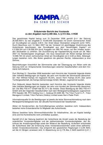 Erläuternder Bericht des Vorstands - KAMPA AG