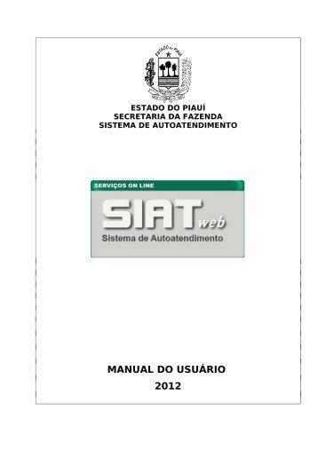 Manual SIAT WEB - Bem vindo ao Portal da SEFAZ-PI