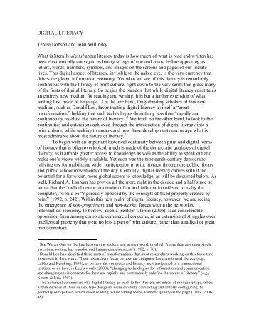 DIGITAL LITERACY Teresa Dobson and John Willinsky What ... - PKP