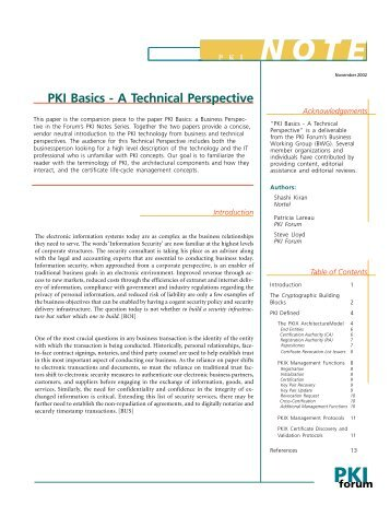 PKI Basics - A technical perspective - oasis pki