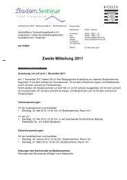 Zweite Mitteilung 2011 - Studienseminar Heppenheim