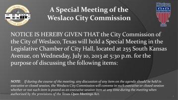 1. Agenda, July 10, 2013 - City of Weslaco