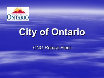 City of Ontario - Low Carbon Fuels Conference Series