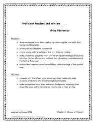 Proficient Readers and Writers . . . draw inferences - The Reading ...