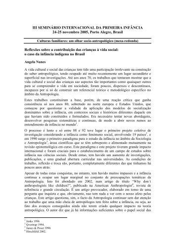 o caso da Infância Indígena no Brasil - PIM-Programa Primeira ...