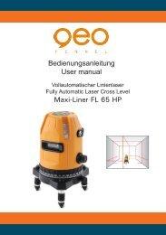 Bedienungsanleitung User manual Maxi-Liner FL 65 HP