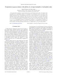 Precipitation in aqueous mixtures with addition of a strongly ...