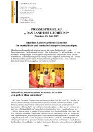"""pressespiegel zu """" das land des lächelns"""" - Lehár Festival in Bad Ischl"""