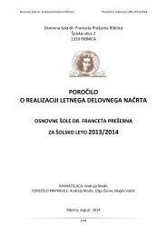Poročilo o realizaciji LDN - OŠ Ribnica