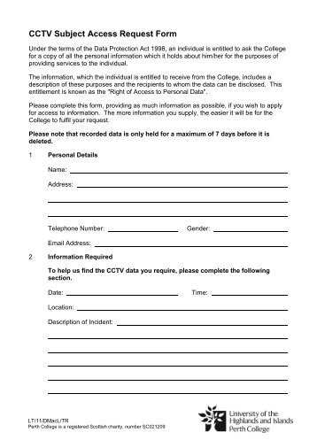 Perth College Uhi Cctv Subject Access Request Form Please Note