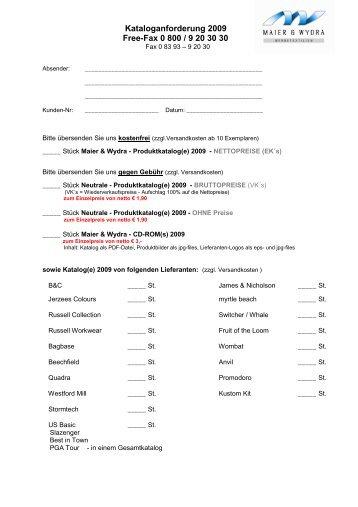 Kataloganforderung 2009 - Maier & Wydra