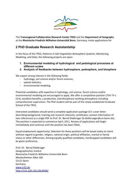 2 PhD Graduate Research Assistantship - Patterns in Soil ...