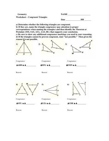 Worksheets Congruent Triangles Worksheet geometry 4 prove triangles congruent by sas and hl worksheet triangles