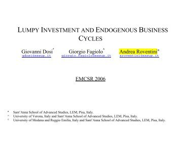 lumpy investment and endogenous business cycles - L.Int.Ar.