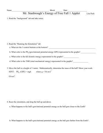 Worksheets Freefall Worksheet physics 110 free fall worksheet davidson mr stanbroughs 1 applet worksheet