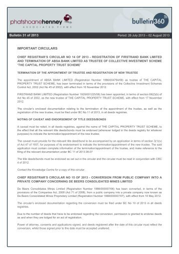 IMPORTANT CIRCULARS Bulletin 6 of 2013 Bulletin 31 of 2013