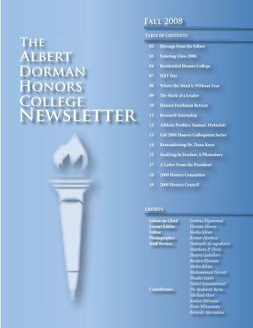Honors Newsletter Fall08.indd - Albert Dorman Honors College