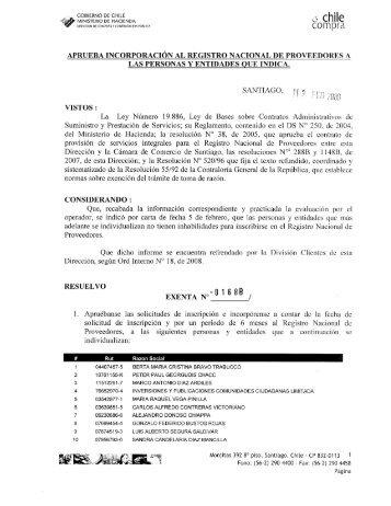 Resolución Proveedores Inscritos Enero 2008 - Chileproveedores