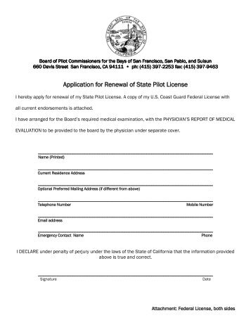 Pilot License Renewal Application and Medical Forms