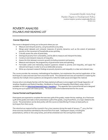 Advanced Poverty Analysis - MDP UCAD - Université Cheikh Anta ...