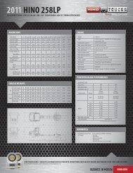 download pdf > model specs - Hino Trucks