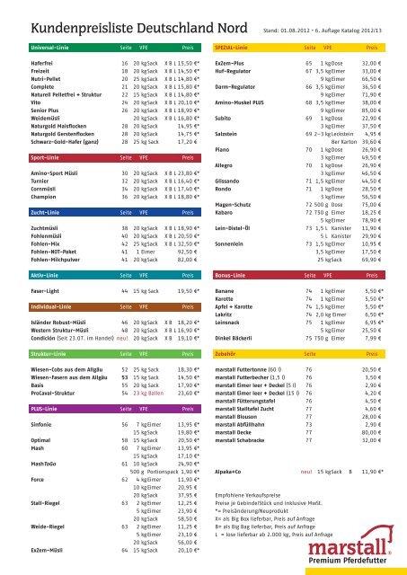 Kundenpreisliste Deutschland Nord - Marstall
