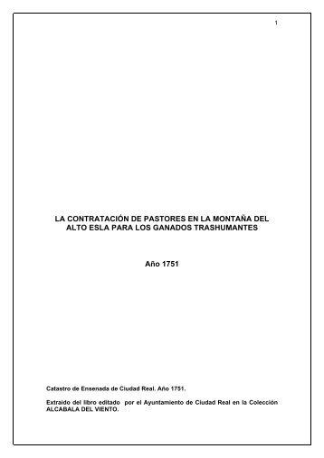 Relación de pastores que se hallaban en Ciudad Real en la ...